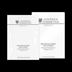 Janssen 8206P Biocellulose Mask Face & Neck - Универсальная интенсивно увлажняющая лифтинг-маска для лица и шеи с голубикой, 3 шт