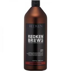 Redken Brews 3-In-1 Shampoo, Conditioner & Body Wash - Шампунь, кондиционер и гель для душа 3 в 1, 1000 мл